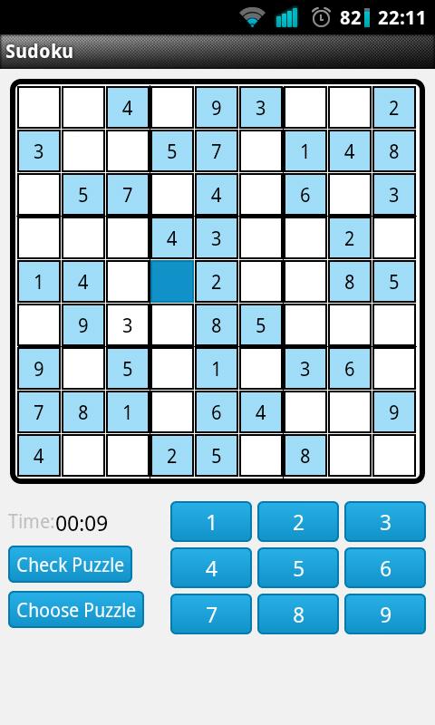 Sudoku game play